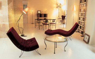 Monadora - Chaise longue en acier et velours Chaise longue Monadora et fauteuil assorti en acier et velours
