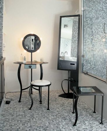 Make up set - Dressing table & Psyche Dressing table made of steel. metal stool sheathed with white vinyl, Psyche