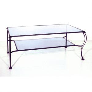 Table basse double plateaux verre
